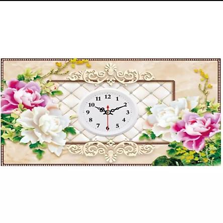 Tranh thêu chữ thập Đồng hồ_hoa (55*38cm) chưa thêu