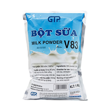 Bột sữa béo V83 GTP (1KG)- Béo, thơm đậm vị dùng để pha trà sữa, thức uống, làm bánh - SP Chính Hãng (Bột sữa V83 (1kg/bao))