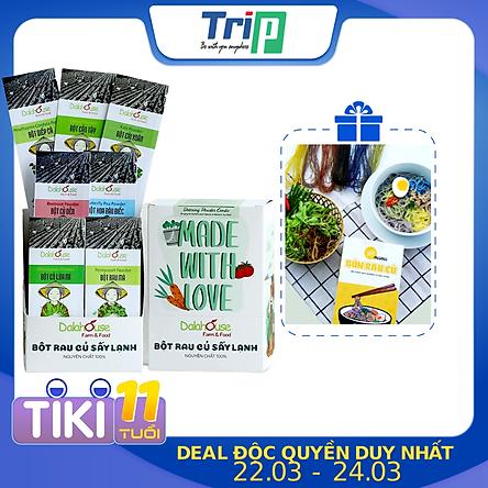 Combo Detox thải độc - bột rau củ hữu cơ sấy lạnh Dalahouse hộp 15 gói mỗi gói 10gr