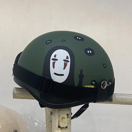 Mũ bảo hiểm nửa đầu SRT Vô Diện màu xanh rêu, có kèm kính, hàng chính hãng chất lượng cao