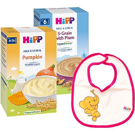 Combo 2 Bột Sữa Và Rau Củ Dinh Dưỡng HiPP Vị Bí Đỏ 3323 & Bột Dinh Dưỡng Sữa Ngũ Cốc Hoa Quả Tổng Hợp - Mận Tây HiPP 250g - 2918 Tặng Kèm 1 Yếm Ăn Dặm HiPP
