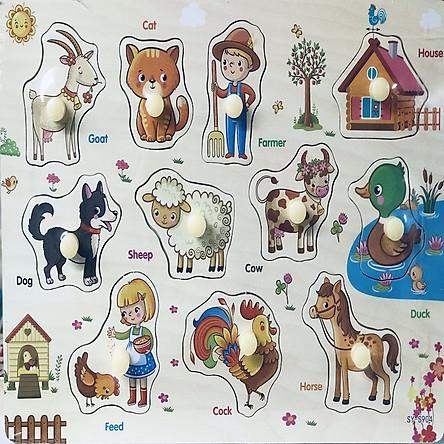 Đồ chơi gỗ - Combo bảng ghép hình núm gỗ chủ đề Nông trại + Động vật rừng