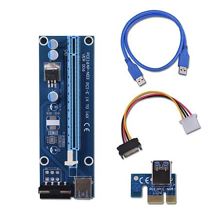 PCI-E PCI Express Riser Card 1x To 16x USB 3.0 Data Cable SATA to 4Pin IDE Molex Power Supply For BTC Miner Machine Mining - Blue