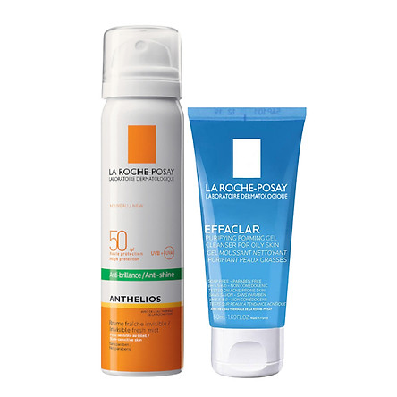 COMBO LA ROCHE-POSAY XỊT CHỐNG NẮNG ANTHELIOS INVISIBLE FACE MIST SPF50+ VÀ SỮA RỬA MẶT EFFACLAR 50ML