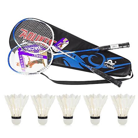 Combo bộ 2 vợt cầu lông AOLIKES YE-6631 và hộp 5 quả cầu cao cấp