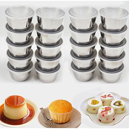 Combo 20 Khuôn Làm Bánh Flan Rau Câu Cupcake Inox 304 ( 7cm )  Nắp Nhựa Khít ( Tặng 40 Khuôn Rau Câu Không Nắp )