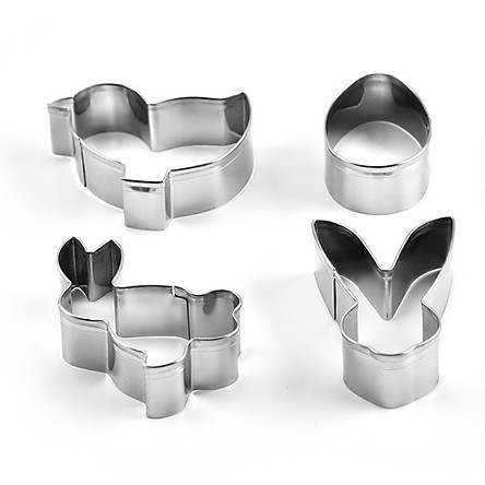 4Pcs Stainless Steel Mini Animal Cake Molds Biscuits Mousse Pudding Small Cake Baking Mold Kitchen Tool