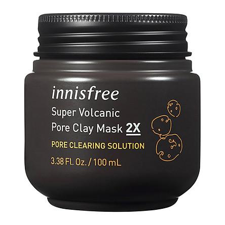 Mặt Nạ Tro Núi Lửa Trị Mụn Đầu Đen, Chăm Sóc Lỗ Chân Lông Innisfree Super Volcanic Pore Clay Mask 2X 100ml
