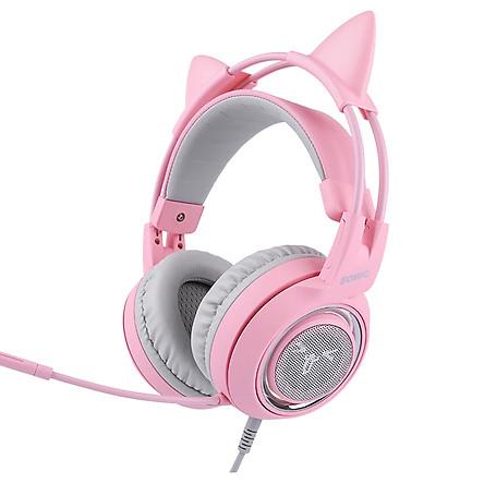 Tai nghe chơi game Somic G951 pink, có mic, rung phản hồi, đèn LED, âm thanh giả lập 7.1, USB - Hàng Chính Hãng