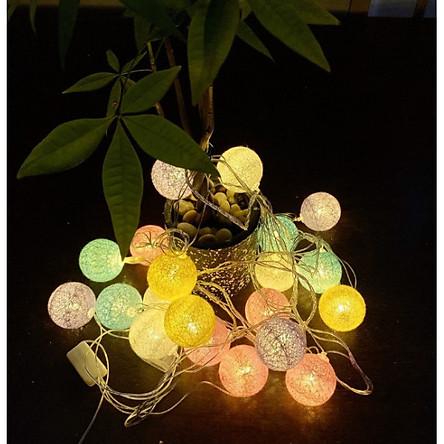 Đèn banh vải cotton ball 3m sắc màu