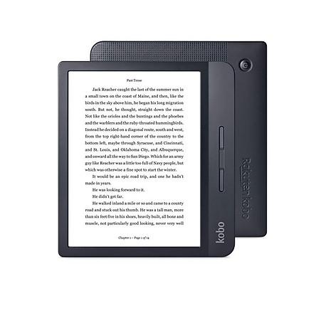 Máy đọc sách Kobo Libra H20 8GB Trắng/Đen có đèn nền vàng, chống nước - Hàng nhập khẩu