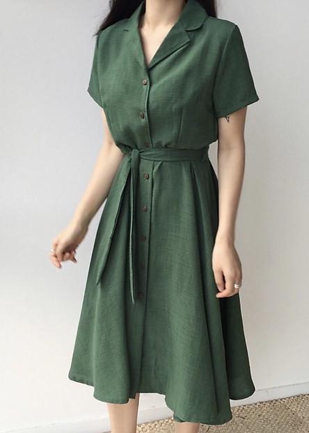Đầm xanh lính cổ vest thắt eo