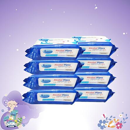 Combo thùng 8 gói Khăn ướt cồn kháng khuẩn cao cấp iHomeda ( 80 Miếng/ Gói) - Combo 8 of iHomeda premium anti-bacteria alcohol wipes ( 80 sheets per packpage)