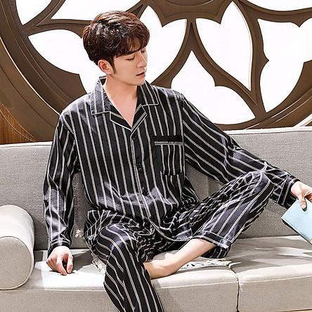 Đồ bộ Pyjama mặc nhà Nam chất liệu phi bóng rũ mềm mại, sọc trẻ trung -88217
