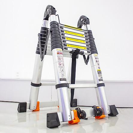 Thang nhôm rút đôi SUMIKA SK560D (2.8M+2.8M) - rút chữ I cao 5.6m, rút chữ A cao 2.8m, tải trọng 300kg