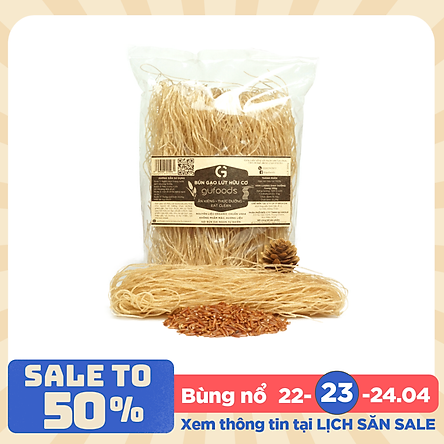 Bún gạo lứt hữu cơ ăn kiêng GUfoods (200g) - Hỗ trợ giảm cân, thực dưỡng, eat clean