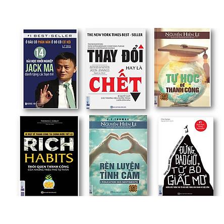 Bộ sách 6 cuốn hay nên đọc ( Đừng bao giờ từ bỏ giấc mơ - Rich haits thói quen thành công của triệu phú tự  thân - Ở đâu có phàn nàn ở đó có cơ hội - Thay đổi hay là chết - Tự học để thành công - Rèn luyện tinh cảm )t