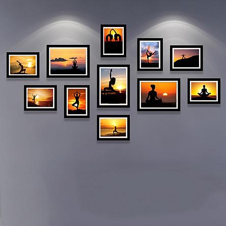 Bộ Tranh Treo Tường Trang Trí Tiệm YoGa Cực Đẹp Tặng Kèm bộ ảnh như hình mẫu, đinh treo tranh và sơ đồ treo - PGC232