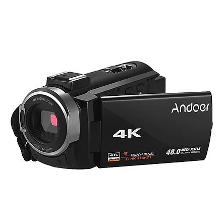 Máy Quay Video Kỹ Thuật Số Andoer 4K Hd Quay Phim DV 16X Zoom Màn Hình Cảm Ứng (3 Inch) Kết Nối Wifi Với 2 Viên Pin Đính Kèm Đen
