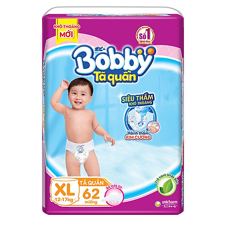 Tã Quần Bobby Ultra Jumbo XL62 Siêu Siêu Lớn (Size XL) - 62 Miếng