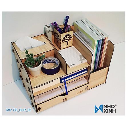 Kệ hồ sơ để bàn lắp ráp, Nhãn hiệu Nhỏ và Xinh, xuất xứ Việt Nam, sắp xếp bàn làm việc gọn gàng, thích hợp làm quà tặng ý nghĩa cho bạn bè, người thân - Kệ hồ sơ số 2 - OS_SHP_02
