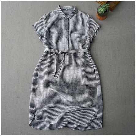 Đầm suông kẻ sọc cổ sơ mi Linen 2 túi ngực lượn đuôi tôm, chất vải linen tự nhiên, thời trang phong cách Hàn