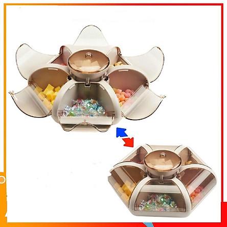 Khay Đựng Mứt Tết , Hộp Mứt Bánh Kẹo Hình Hoa 6 Cánh Tự Bung Cao Cấp Mẫu Mới Nhất