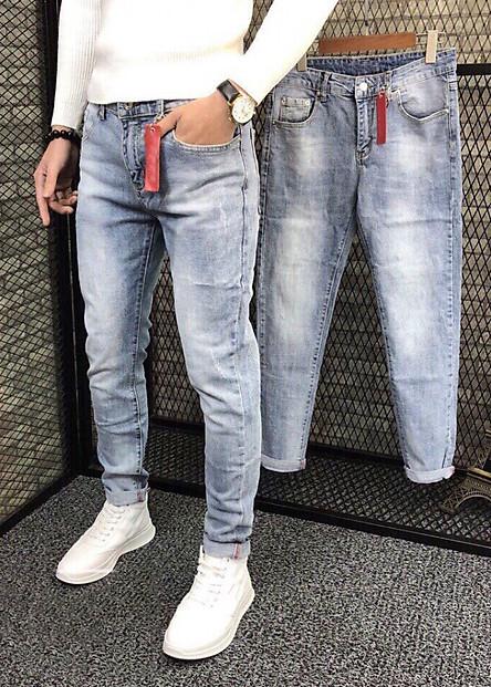 quần jean dài nam xanh bạc cào nhẹ - B5678
