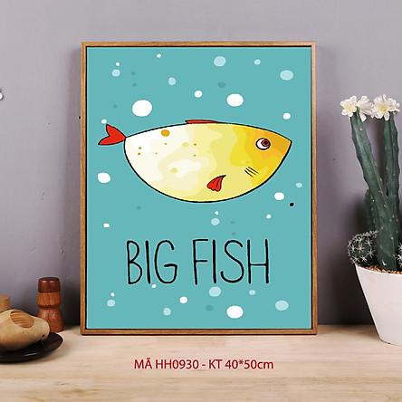 Tranh tô màu số hóa Big fish Tranh cá hiện đại đơn giản dễ vẽ HH0930