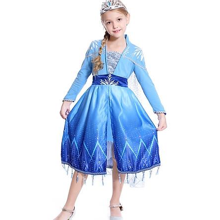 Váy Đầm Elsa Frozen 2 Màu Xanh Tay Dài Cho Bé Gái Kèm Tà Xẻ Liền   HM0674