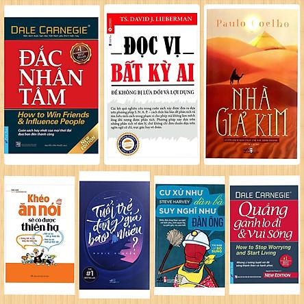 Combo 7 Cuốn Tủ Sách Tinh Hoa : Nhà Giả Kim + Đắc Nhân Tâm + Đọc Vị Bất Kỳ Ai + Khéo Ăn Nói Sẽ Có Được Thiên Hạ + Cư Xử Như Đàn Bà Suy Nghĩ Như Đàn Ông + Tuổi Trẻ Đáng Giá Bao Nhiêu  + Quẳng Gánh Lo Đi Và Vui Sống / BooksetMK