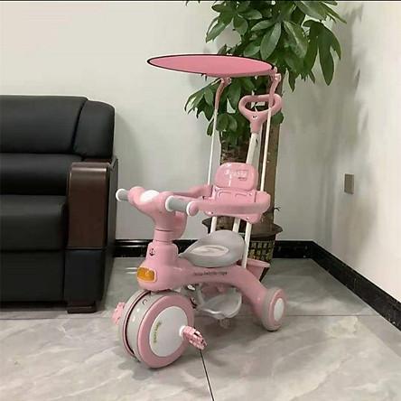 (Loại đẹp)Xe đẩy xe đạp 3 bánh hạng cao cấp có nhạc mái che cho bé