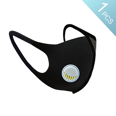 1 Cái khẩu trang che mặt màu đen chống gió bụi, làm từ chất liệu mềm mại đàn hồi, có thể giặt và tái sử dụng