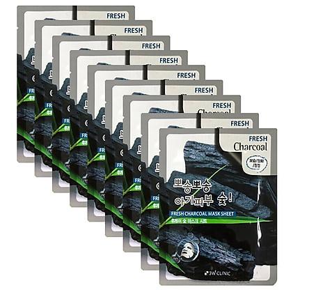 Combo 10 Túi mặt nạ giấy dưỡng trắng da - mặt na dưỡng trắng da chiết xuất Than Hoạt Tính 3w Clinic Hàn Quốc 23ml x 10
