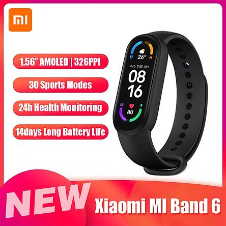 Đồng hồ thông minh Xiaomi MI Band 6 1.56 '' AMOLED BT5.0 30 chế độ thể thao/Chống thấm nước 5ATM/Ứng dụng MI Fit / Theo dõi giấc ngủ, tim mạch - Bản nội địa trung