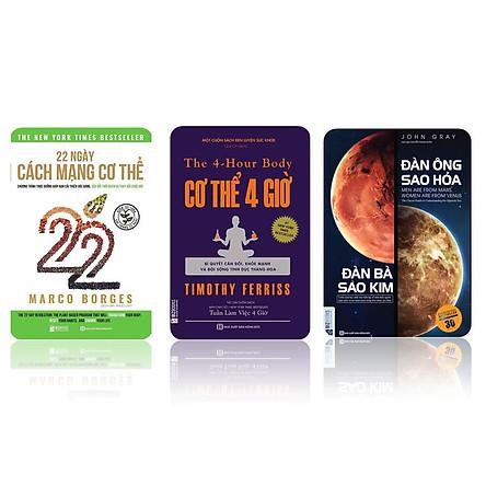 Bộ sách 3 cuốn ( 22 ngày cách mạng cơ thể - Cơ thể 4 giờ - Đàn ông sao hỏa đàn bà sao kim)t