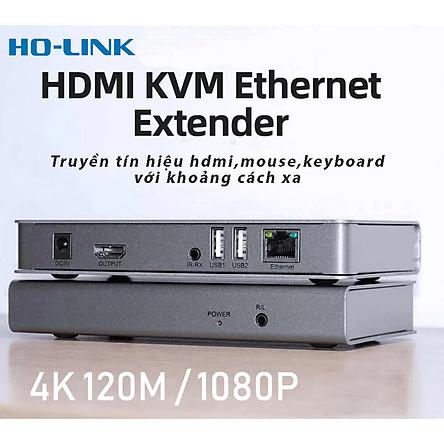 Bộ kéo dài tín hiệu hdmi qua lan rj45 120m Ho-Link hỗ trợ  UHD 4K, KVM Extender - Hàng Chính Hãng