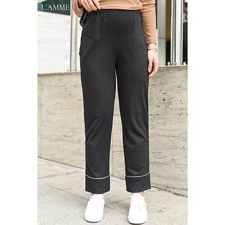 Quần bầu sau sinh Line Pant dáng suông co giãn tốt, đáp bụng cotton mềm mỏng, thích hợp mặc đi làm, đi chơi, dạo phố - Thiết kế bởi LAMME