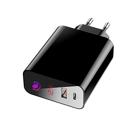 Cốc sạc 2 cổng Type C + USB (chân tròn)- Hỗ trợ sạc nhanh PD - QC4.0/ QC3.0 công suất lên đến 45 W, chế độ  hẹn giờ tắt - Baseus Speed PPS Smart Shutdown Charger - Hàng Chính Hãng