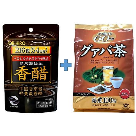 Combo Giấm đen hỗ trợ giảm cân Orihiro và Trà ổi hỗ trợ giảm cân Orihiro Nhật Bản