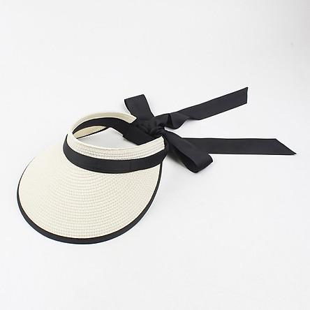 Women Sun Visor Hat Adjustable Wide Brim Bowknot Straw Hat Beach Hat