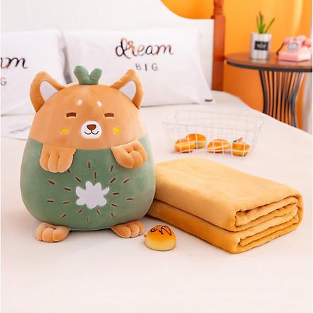 GỐI MỀN 3 trong 1 Trái Cây hình thú cute, thun 4 chiều siêu mịn, bộ chăn gối văn phòng, gấu bông kèm mền GM74-Chuotfruit