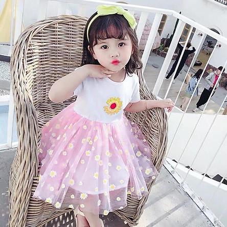 Váy Đầm Xoè Bé Gái Tiểu Thư Hoa Daisy
