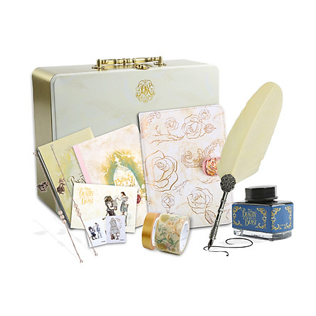 Kina beauty and beast gift set (A6 retro leather hand book / paper tape / feather pen / ink / bookmark decoration) IQT12000