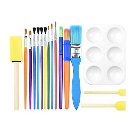 16PCS Children Paintbrushes Washable Paint Brushes Sponge Painting Brush Set for Toddler Kids Early DIY Learning Toys