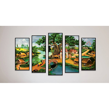Tranh canvas kèm khung trang trí phòng khách, bộ 5 tranh treo tường đường vào làng
