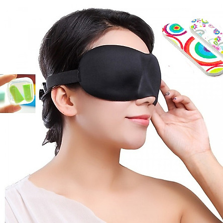 Bịt Mắt Ngủ 3D Tặng Bịt Tai Và Thanh Dũa Móng Tay Ngẫu Nhiên