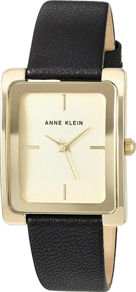Đồng Hồ Nữ Anne Klein AK/2706CHBK Mặt Vàng Với Dây Da Đen Chính Hãng