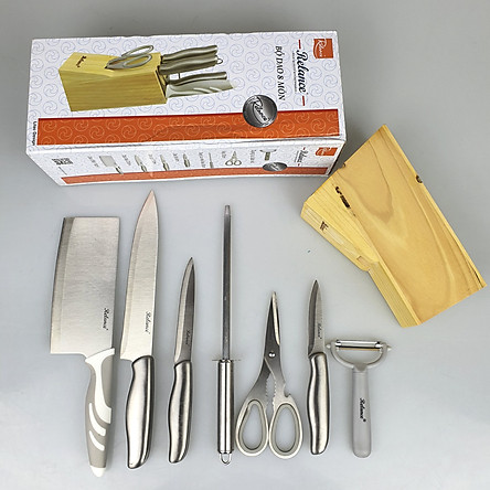 Bộ Dao Inox 8 Món Nhà Bếp RL-KF142 Có Hộp Đựng Gỗ Tiện Dụng Gồm Các Loại Dao,Kéo,Gọt,Dụng Cụ Mài Cao Cấp