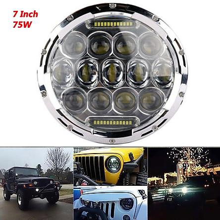 7'' 75W LED Round Headlight H4 DRL Hi/Lo Beams for Jeep Wrangler CJ JK TJ